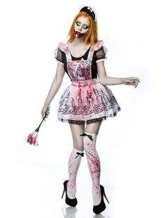 Zombie Zimmermädchen Halloween Damenkostüm Komplettset schwarz-weiss