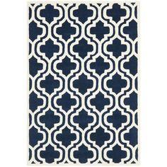 Varick Gallery Wilkin Dark Blue & Ivory Area Rug Rug Size: