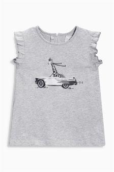 Grey Photographic Car Frill Sleeve T-Shirt (3mths-6yrs)