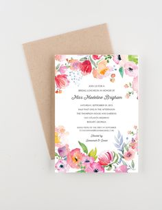 Boho Botanical Garden Bridal Luncheon Invitation, Bridal Shower, Save The Date or Wedding Announcement by seahorsebendpress on Etsy Flower Invitation, Invitation Set, Digital Invitations, Custom Invitations, Bridal Luncheon Invitations, Garden Wedding Invitations, Wedding Stationery, Garden Bridal Showers, Garden Shower