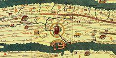 Italy - Lazio - Tabula Peutingeriana - XII sec. - copied from a roman map of the Roman streets milestones - from Hofbibliothek of Vienn, Austria