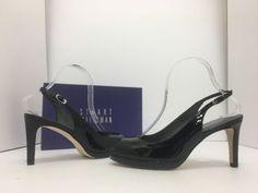Stuart Weitzman Slinky Black Patent Leather Women's Slingback Heels Sandals 8 M