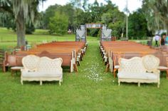 church pews with vintage couch pieces in front row Church Pew Wedding, Small Church Weddings, White Wedding Arch, Church Wedding Flowers, Wedding Doors, Church Wedding Decorations, Wedding Entrance, Wedding Scene, Wedding Ceremony Decorations