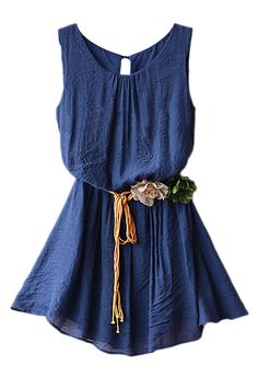 Split Belted Sleeveless Navy-blue Dress, LOVEEE IT !!