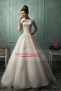 2016 A Line Wedding Dresses Bateau 3/4 Length Sleeves With Applique Organza