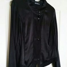 Barbara Bui Silky Top / Jacket New Black M This is a great piece to layer over a plain tank.  Silky black, with matte black trim and silver tone/onyx buttons in front and at cuffs.   Adorable.   Worn only once.   Size: Medium / 40 Barbara Bui Tops