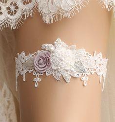 wedding garter bridal garter lace garter white by GadaByGrace