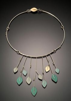 Angela Gerhard Necklace for Spring Sterling silver, 18-karat gold, copper, enamel; sifted, etched, soldered http://www.angelagerhard.com/