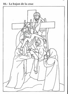 Pinto Dibujos: Bajan a Jesús de la Cruz – Dibujo para colorear
