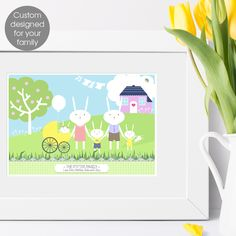 Personalised Rabbit Family Print, bespoke print for your own family from PhotoFairytales Family Print, Easter Gift, Family Gifts, Order Prints, Rabbits, Mother Day Gifts, Paper Flowers, House Warming, Bespoke