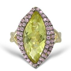 Amazon.com: Yellow Gold Plated Sterling Silver Marquise-Cut Lemon Quartz and Cubic Zirconia Ring, Size 7: Jewelry