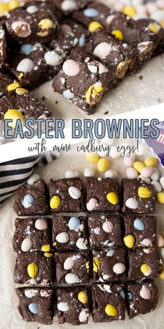Easter Brownies - Cooking With Karli Easter Brownies are a homemade brownie topped with Cadbury Mini Eggs making this one of the easiest Easter Desserts you could make! Your family will LOVE these fudgey and festive brownies. No Egg Desserts, Easy Easter Desserts, Great Desserts, Holiday Desserts, Dessert Recipes, Easter Treats, Delicious Desserts, Mini Egg Recipes, Easter Recipes