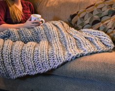 Chunky Knit blanket throw Heavy cozy wool lap blanket