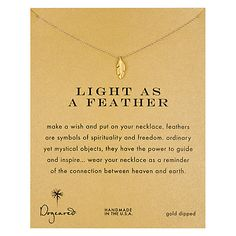 Buy Dogeared Gold Plated Light as a Feather Reminder Necklace, Gold Online at johnlewis.com