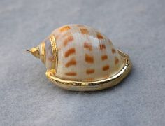 Sea Snail Shell Gold Plated Charm Pendant #seashells #beachjewelry #vintagependant