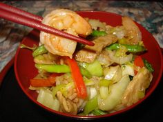 A really simple stir fry, with loads of flavor and plenty of  vegetables, served with Chinese noodles.  Easily to  prepare ahead and so quick to put together.