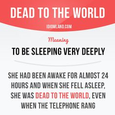 """Dead to the world"" means ""to be sleeping very deeply and soundly""."