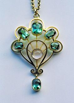 Jugendstil Pendant, Gold Tourmaline Moonstone (c. 1900) - MURRLE BENNETT & CO
