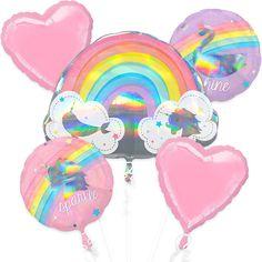 Magical Rainbow Birthday Balloon Bouquet 5pc | Party City