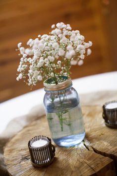 Baby's Breath Centerpiece  Powder Blue & White Shabby Chic Wedding at Davies Manor Plantation Photographer:  Michael Allen Photography