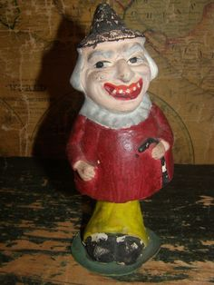 Vintage Antique Toy Halloween Witch Nodder Bobblehead Germany Plaster Chalkware