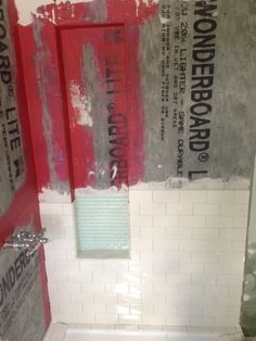 diy shower niche with glass mosaic and white subway tiles using Redgard waterproof membrane-www. Bathroom Red, Basement Bathroom, Small Bathroom, Bathroom Ideas, Bathroom Inspiration, Restroom Ideas, Concrete Bathroom, White Bathrooms, Luxury Bathrooms