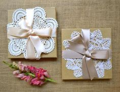 Doilies. cute gift wrapping idea, especially for valentine's with a pink or red ribbon or at Christmas and put a spring of evergreen