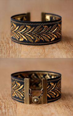 gold leaf cuff bracelet // reversible & stackable // par AWAYSAWAY, $16.00