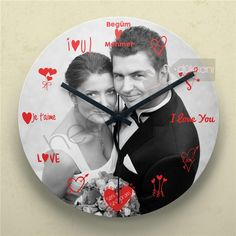 Aşk Zamanı Fotoğraflı Duvar Saati