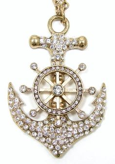 A nautical anchor and ships wheel pendant adds some sparkle to this necklace. The goldtone pendant is covered in clear rhinestones. Nautical Necklace, Nautical Jewelry, Ship Wheel, Nautical Anchor, Vintage Rhinestone, Navy And White, Vintage Jewelry, Sparkle, Brooch
