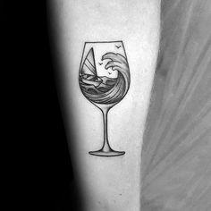 50 Wine Tattoo Designs For Men - Vino Ink Ideas Forarm Tattoos, Body Art Tattoos, Small Tattoos, Tattoo Thigh, Sleeve Tattoos, Tatoos, Jellyfish Drawing, Watercolor Jellyfish, Jellyfish Painting