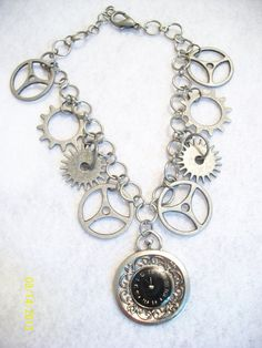 Steampunk Clockwork Gears Charm Bracelet by DysfunctionalAries, $16.00