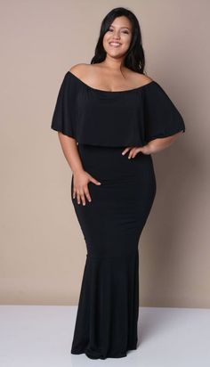 Maxi Mermaid Long Black Dress | Off the shoulder | Plus Size
