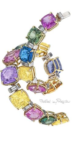 Regilla ⚜ Colored Sapphire Diamond Gold Platinum Bracelet