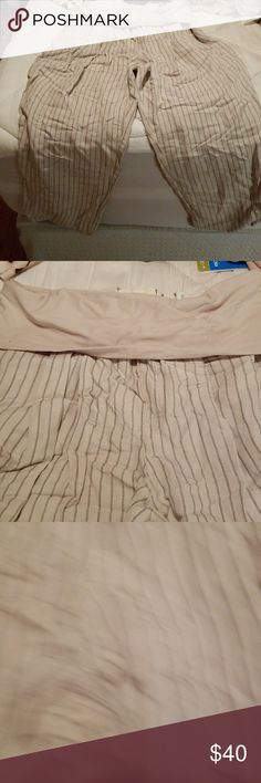 ANTHROPOLOGIE Capris Nwt Tan pants with grey striped holdover waist Anthropologie Pants Capris