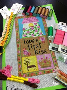 It's not your Grandmother's Needlepoint: Love's First Kiss.....made with River Silks silk ribbon!