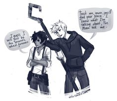 moreninjathanu: My two boys: Jack Frost and Leo Valdez. Can anyone else think of them as THE BEST bromance ever? Please? No? Okay, I'll just sit here, wishing for something that no one else agrees with viria: I've been scrolling through Leo Valdez tag yesterday and I saw this. I don't think there was a way for me to avoid drawing it… so yeah, crossovers 'Leo will meet EVERYONE' continue.