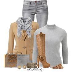 """""""Camel & Grey"""" by fiona-stanley on Polyvore"""