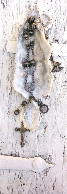 Chandelier Crystal Cross Necklace Religious by SecretStashBoutique