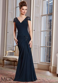 Avbl in Plum - Evening Gowns and Mother of the Bride Dresses by MGNY 71015 Chiffon/Mesh Dress and Stole. Colors available: Navy, Plum, Platinum, Cashmere, Cranberry. Sizes available: 2-26.