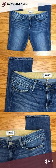 """PAIGE Jimmy Jimmy Skinny Jeans Size 28 Jimmy Jimmy Skinny Jeans in the Tigerlily wash by PAIGE. Size 28. Preloved, in great condition! The Jimmy Jimmy Skinny jean is a boyfriend jean, that is slim through the waist and hip, skinny yet slouchy through the thigh and leg. Made of 92% cotton, 7% elasterell, and 1% elastane. The waist flat across measures approximately 16.5"""" and inseam measures approximately 30.5"""". All measurements are taken while the garment is laying flat and are approximate…"""