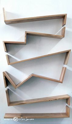 "Libreria Zig Zag by Beatriz Sempere--cool bookcase for a small/tiny home. Reconfigured, it could even work as a cat ""obstacle course"" which could be mounted in a linear way. Fun and distracting for kitties living in a very small space."