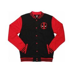 Deadpool Letterman Snap Jacket ($50) ❤ liked on Polyvore featuring outerwear, jackets and snap jacket