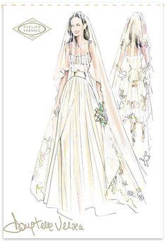 Fabulous Doodles-Fashion Illustration Blog-by Brooke Hagel: Versace Bridal Sketch for Angelia Jolie