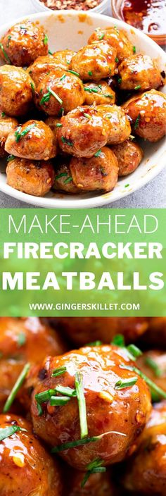 Spicy Chicken Meatballs aka Firecracker meatballs recipe with step-by-step instructions. These spicy and sweet twice-baked chicken meatballs are super easy to make and tastes delicious as an appetizer or in a meal!      #meatballs #firecrackerchicken #firecracker #chicken #chickenmeatballs #firecrackermeatballs Firecracker Meatballs, Firecracker Chicken, Baked Chicken Meatballs, Chicken Meatball Recipes, Appetizer Recipes, Dinner Recipes, Appetizers, Meat Chickens, High Protein Recipes