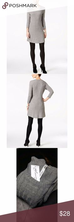 """Gray Cable-Knit Sweater Dress Winter Fall NWT Defined by textured knits, NY Collection's petite sweater dress is a versatile look that transitions from season to season. Scoop neckline Pullover styling Three-quarter sleeves Mixed cable-knit detail at front A-line silhouette Unlined Hits above knee Acrylic Machine washable Imported  Measurements, taken laying flat:  Armpit to armpit: 18"""" (does stretch)  Waist: 16.5"""" Top front center to hem: 30""""  Shoulder to bottom hem: 34"""" Armpit to end of…"""