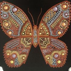 "Панно-накладка ""Бабочка"" - точечная роспись - Ярмарка Мастеров - ручная работа, handmade"