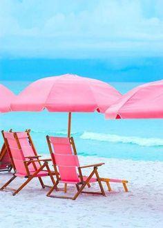 Pink Beach chairs and pink umbrella Pink Beach, Pink Summer, Beach Bum, Summer Time, Summer Beach, Pink Ocean, Pink Sand, Summer Picnic, Style Summer