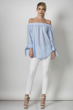 The Sail Away blouse features an off-shoulder neckline and loose, long sleeves with ties at the wrist.    95% Cotton / 5% Spandex         Expected to ship to Brass & Barrel on or about March 11th. | Shop this product here: spree.to/y65 | Shop all of our products at http://spreesy.com/britsstuff    | Pinterest selling powered by Spreesy.com
