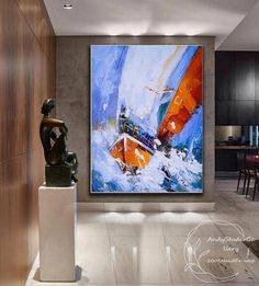Sailboat Painting, Hand Painting Art, Oil Painting Abstract, Painting & Drawing, Original Artwork, Original Paintings, Boat Art, Nautical Art, Blue Abstract